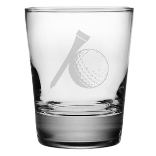 Golf Ball and Tee Double 13.25 oz. Old-Fashioned Glass (Set of 4)
