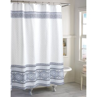 Kadin Medallion Border Cotton Single Shower Curtain