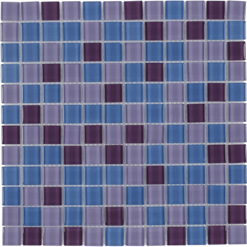 Mosaictileoutlet Stacked Squares 1 X 1 Glass Mosaic Tile In Glossy Blue Purple Wayfair