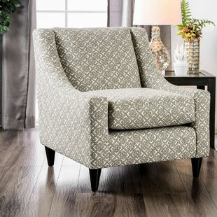 Rosdorf Park Artin Padded in Wooden Frame and Geo Patterned Fabric Armchair