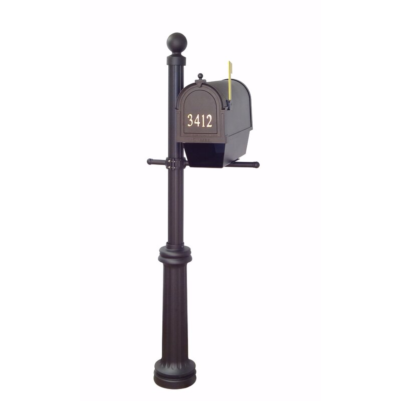 Special Lite Hummingbird Curbside Mailbox with Tacoma Mailbox Post Unit Black