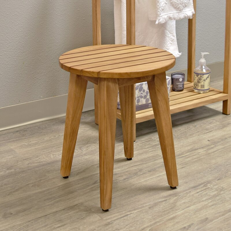 Asta Furniture, Inc. Spa Teak Round Shower Stool | Wayfair