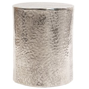 Cammi Textured Aluminum Drum End Table by Bungalow Rose