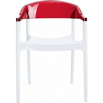 Anner Stacking Patio Dining Chair (Set of 4) Color: White/Transparent Red by Zipcode Design