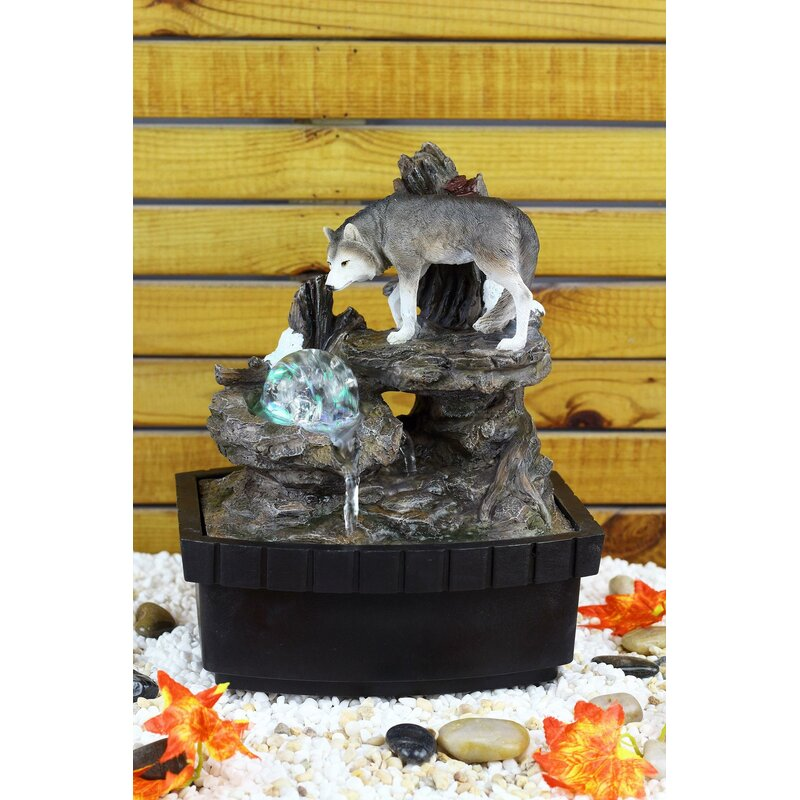OK Lighting Resin/Fibreglass Wolf Table Fountain with LED Light ...