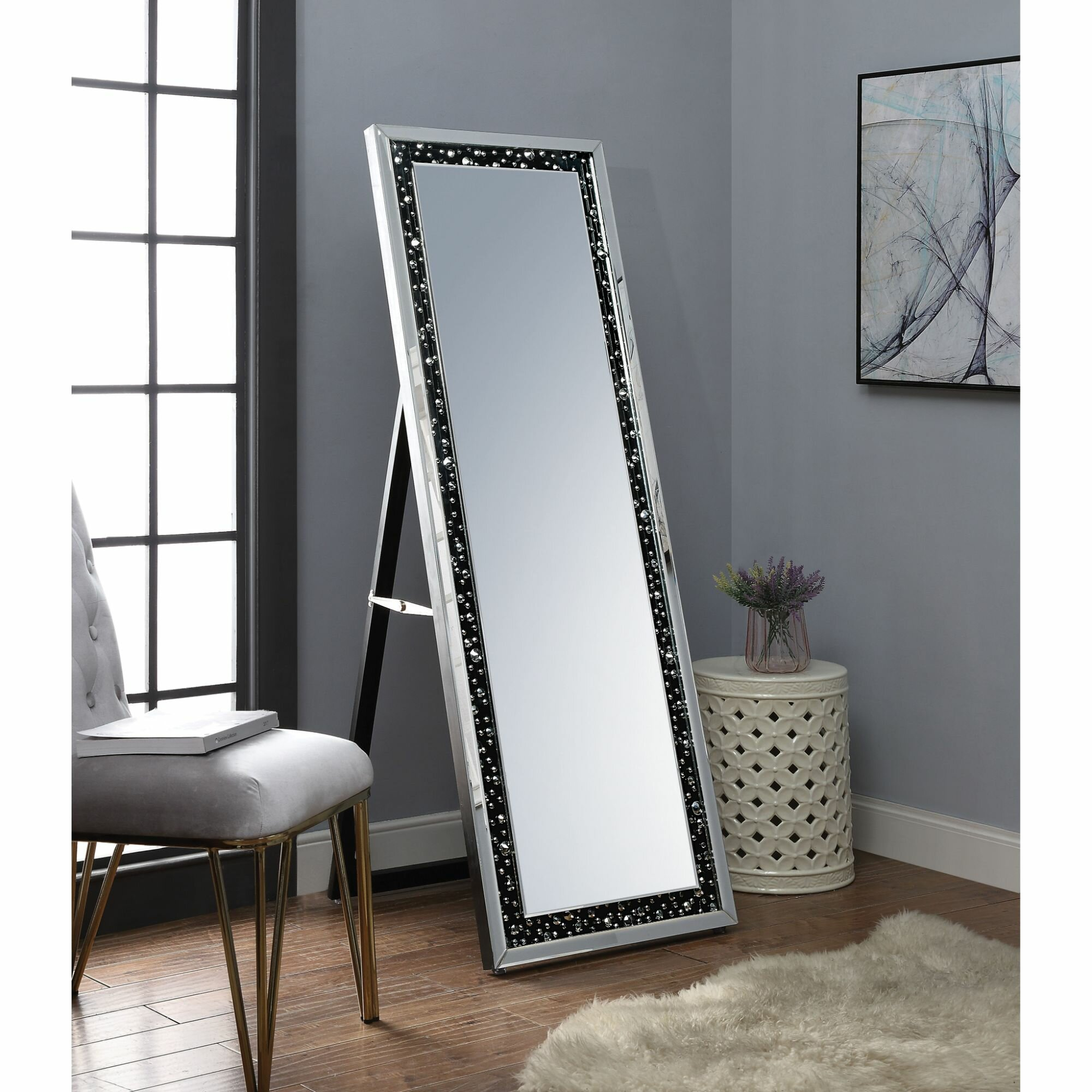 Orren Ellis Mash Faux Crystal Inlaid Wooden Beveled Floor Full Length Mirror Wayfair