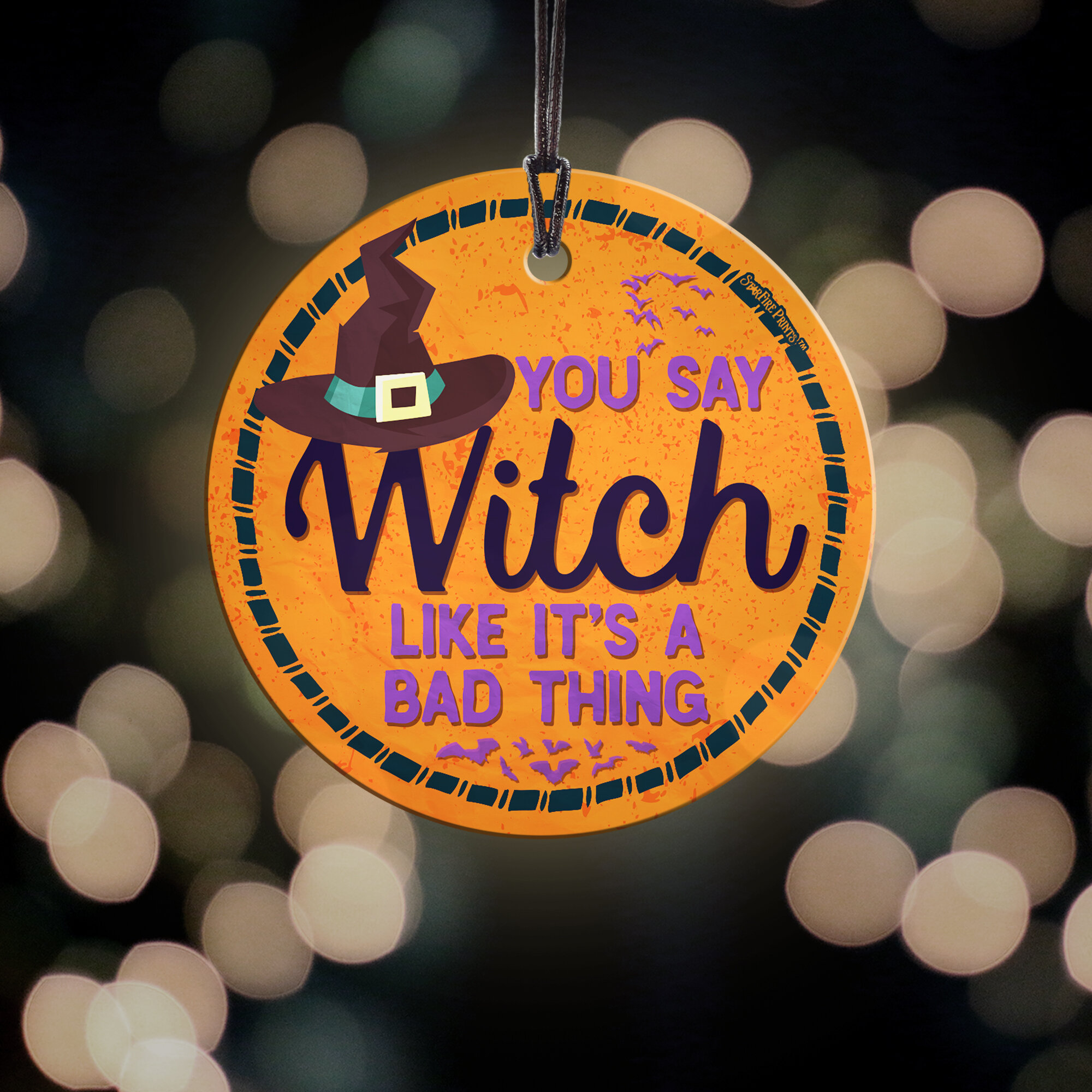 Trend Setters Halloween You Say Witch Starfire Prints Glass Home And Christmas Tree Circle Oranament Wayfair