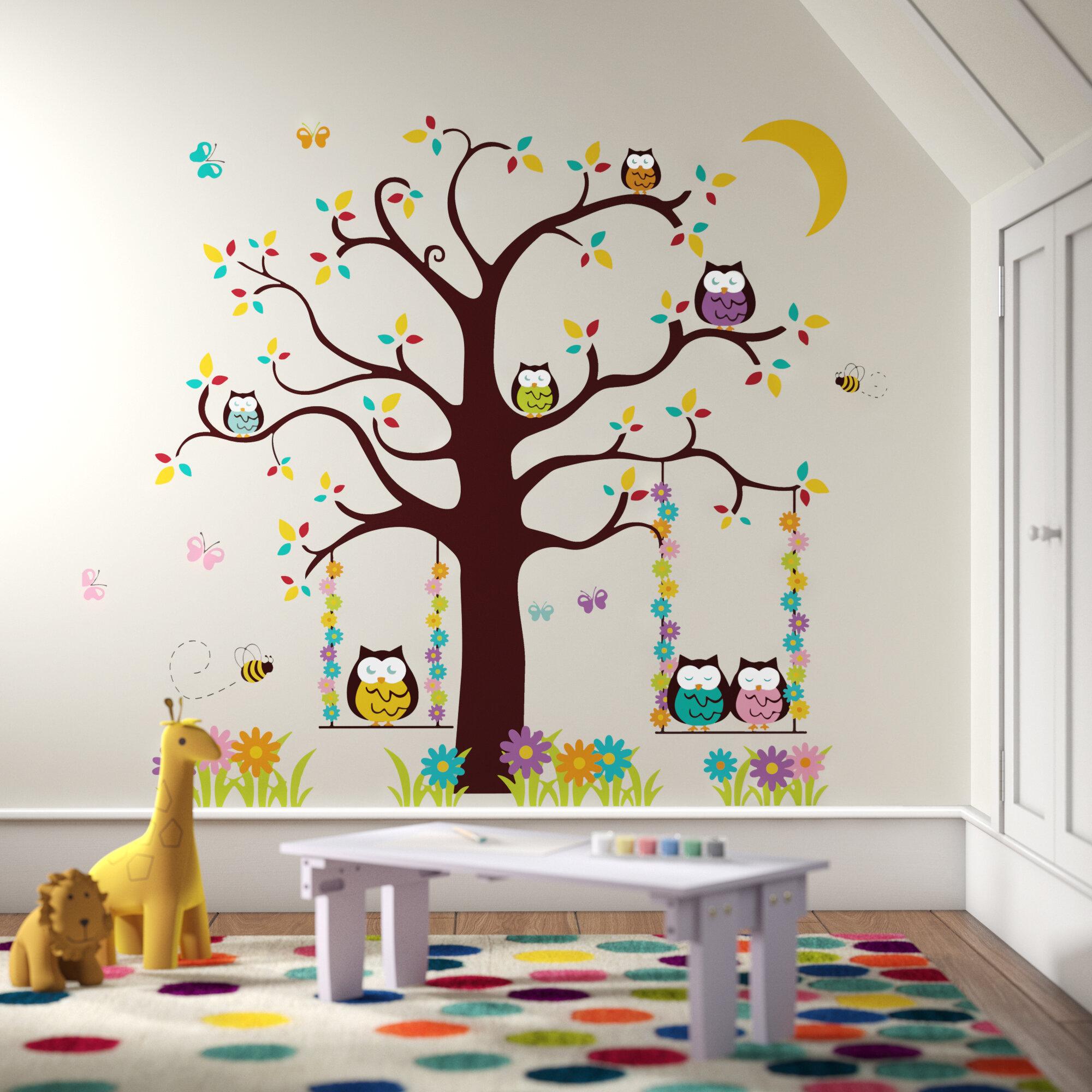nursery vinyl decal tree Children wall decals owl tree wall decal