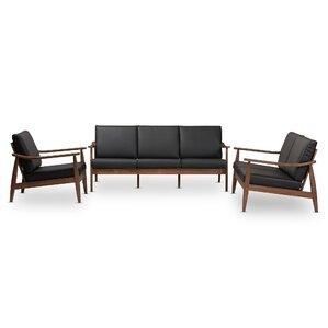 Union Rustic Kellner Mid-Century Modern 3 Piece Wood Frame Living Room Set
