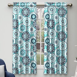 Estates of Fort Lauderdale Geometric Room Darkening Rod Pocket Curtain Panels (Set of 2)