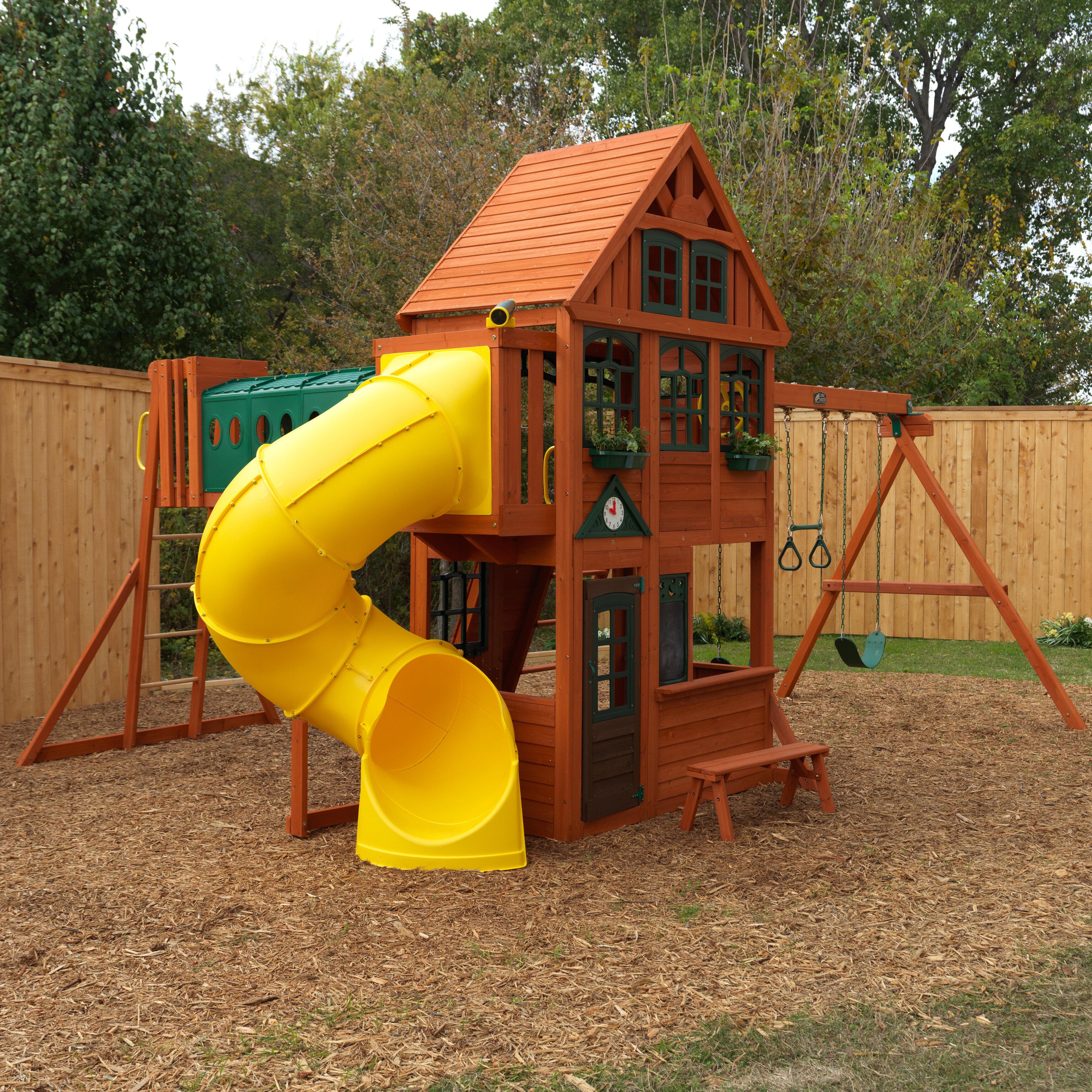 Kidkraft Grove Manor Wooden Swing Set Wayfair