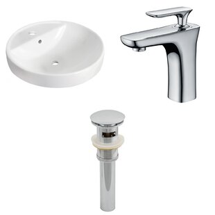 American Imaginations Ceramic Circular Drop-In Bathroom Sink with Faucet