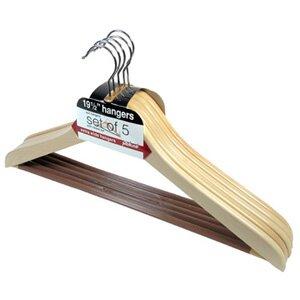 Great Price Wood Ribbed Bar Suit Hanger (Set of 5) ByRichards Homewares