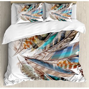 Feather House Vaned Types and Natal Contour Flight Feathers Animal Skin Element Print Duvet Cover Set