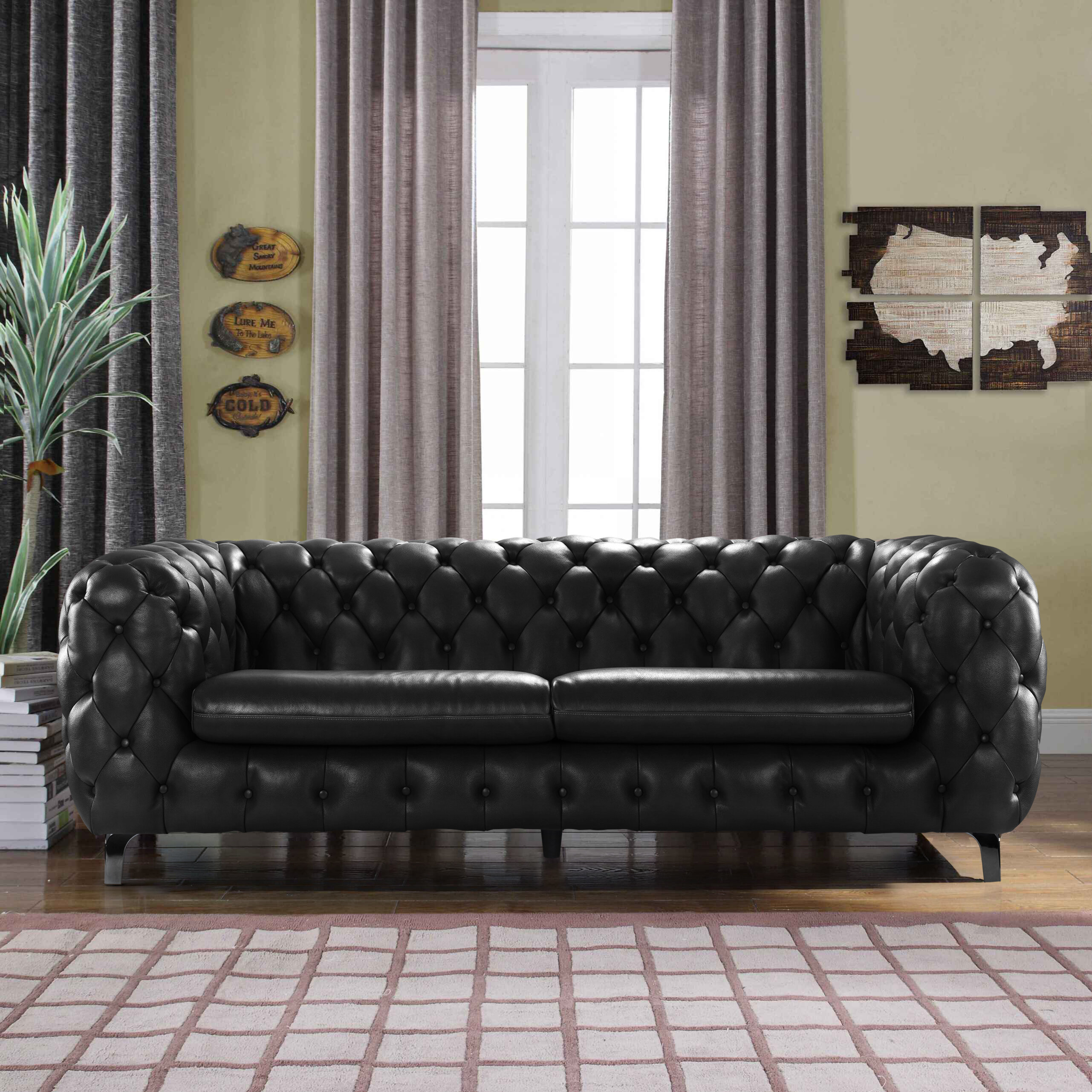 17 Stories Yuliya Leather Chesterfield Sofa with Built In Shelves