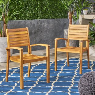 Wynsum Teak Patio Dining Chair (Set of 2) by Bay Isle Home