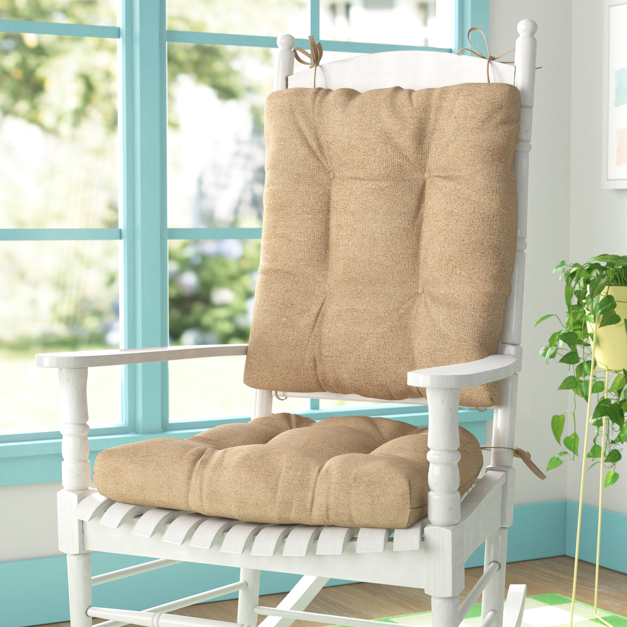 Wayfair Basics Indoor Outdoor 2 Piece Rocking Chair Cushion Set Reviews Wayfair