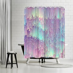 Emanuela Carratoni Iridescent Glitches Single Shower Curtain
