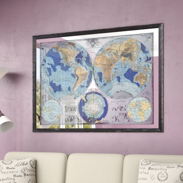 Mirrored Map Of The World.Darby Home Co Mirrored World Map Framed Graphic Art Reviews Wayfair