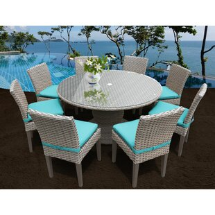 Monterey 9 Piece Dining Set with Cushions by TK Classics