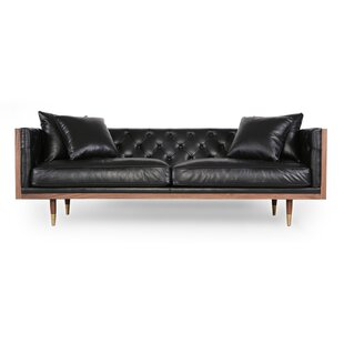 Lancaster Standard Classic Midcentury Leather Sofa