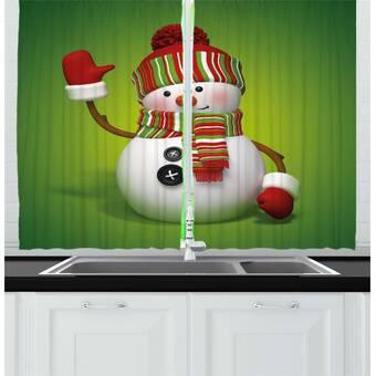 East Urban Home Ambesonne Snowman Kitchen Curtains 3d Style Fun