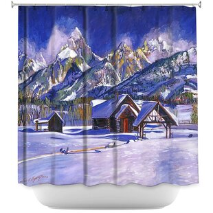 Snowy Log Cabin Shower Curtain