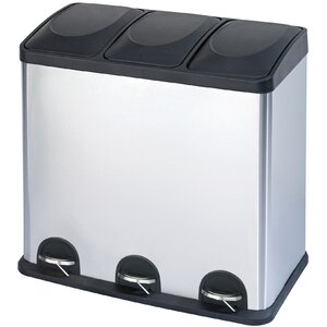 Stainless Steel 3-Compartment 16 Gallon Trash Can