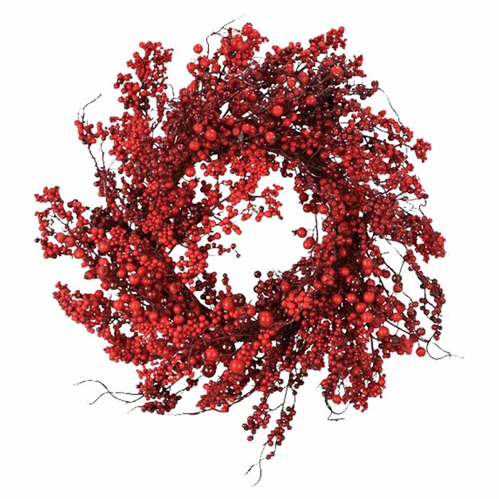 "Red 22"" Berry Styrofoam Wreath"