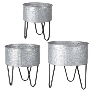 Large Galvanized Metal Buckets Wayfair Ca