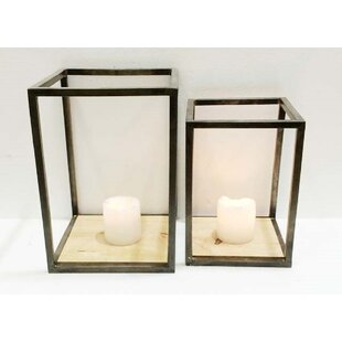Gracie Oaks Pipe Case 2 Piece Metal and Glass Lantern Set