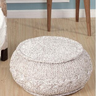 August Grove Hawley Melange Cable Knit Pouf