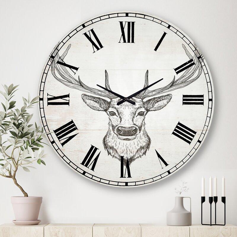 East Urban Home Oversized Deer Wild And Beautiful Ii Cottage Metal Wall Clock Wayfair