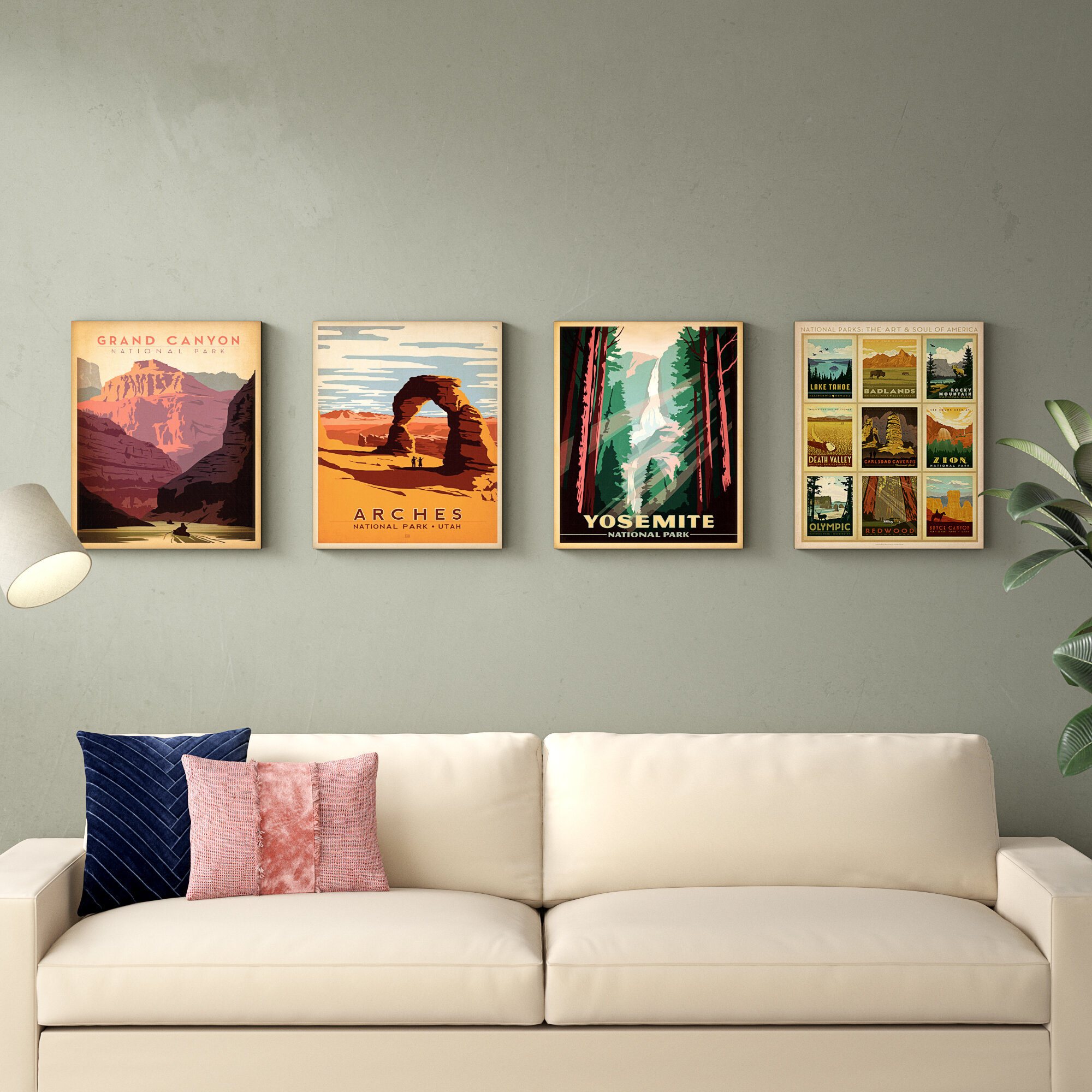 East Urban Home National Parks By Anderson Design Group 4 Piece Wrapped Canvas Advertisements Print Set Reviews Wayfair