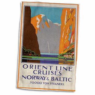 3D Rose Vintage Orient Line Cruises Norway and Baltic Ocean Liner Poster Towel 15 x 22