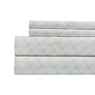 The Twillery Co. Alfonso Lattice Print 300 Thread Count 100% Cotton 4 Piece Sheet Set
