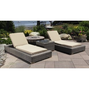 Corsica 3 Piece Chaise Lounge Set with Cushions and Table