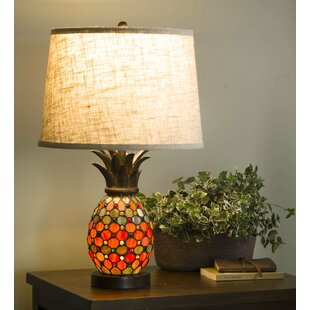 Plow & Hearth Pineapple Stained Glass Table Lamp
