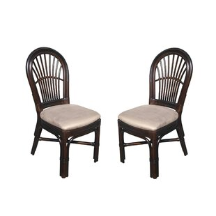 Alim Traditional Rattan Upholstered Dining Chair (Set of 2) Astoria Grand