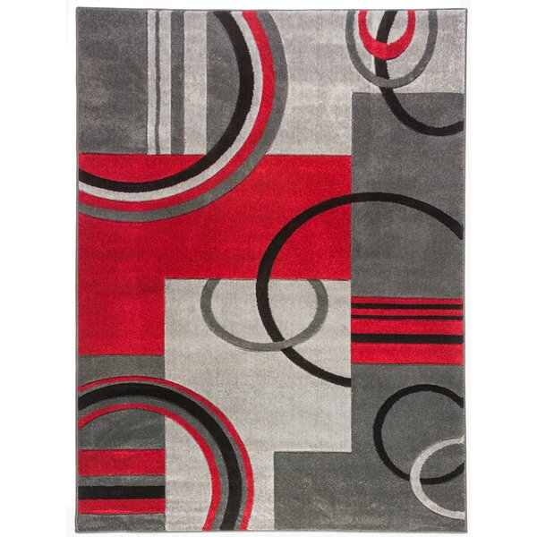 Well Woven Ruby Modern Galaxy Waves Grey Red Area Rug Reviews