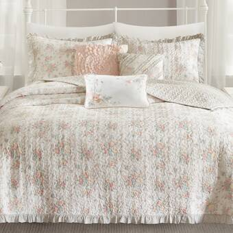 Darby Home Co Cheshire Reversible Floral Cotton Blend 6 Piece Coverlet Set Reviews Wayfair