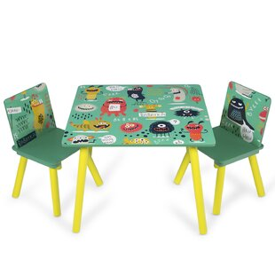 Monster Children's 3 Piece Table And Chair Set By Harriet Bee