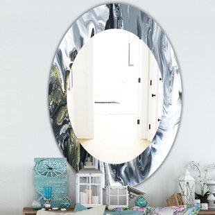 Marbled Geode Mid-Century Modern & Contemporary Frameless Bathroom/Vanity Mirror by East Urban Home