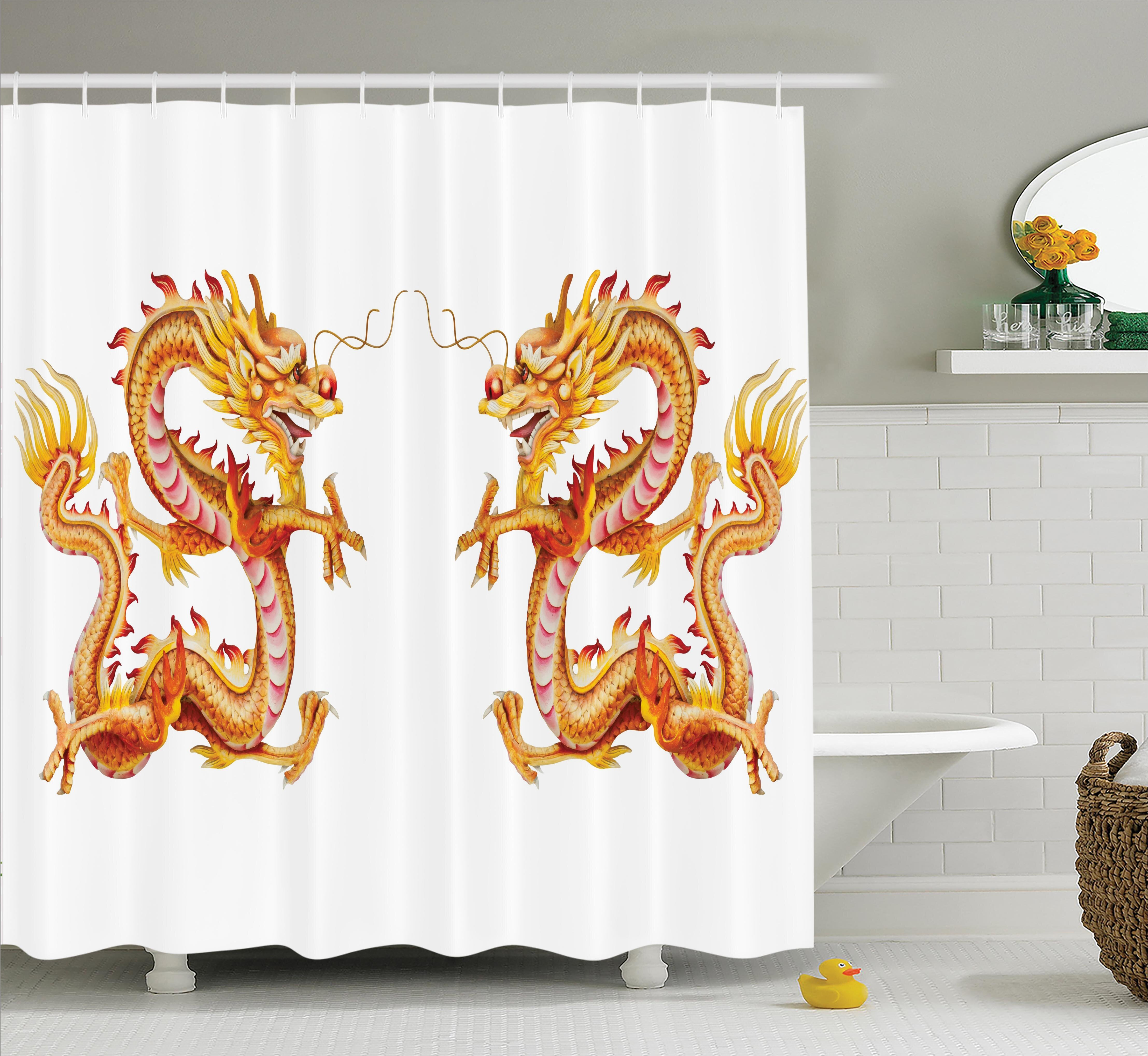 Ebern Designs Yolanda Dragon Twin Fire Zodiac Statues Traditional Asian Art Chinese Themed Picture Print Shower Curtain