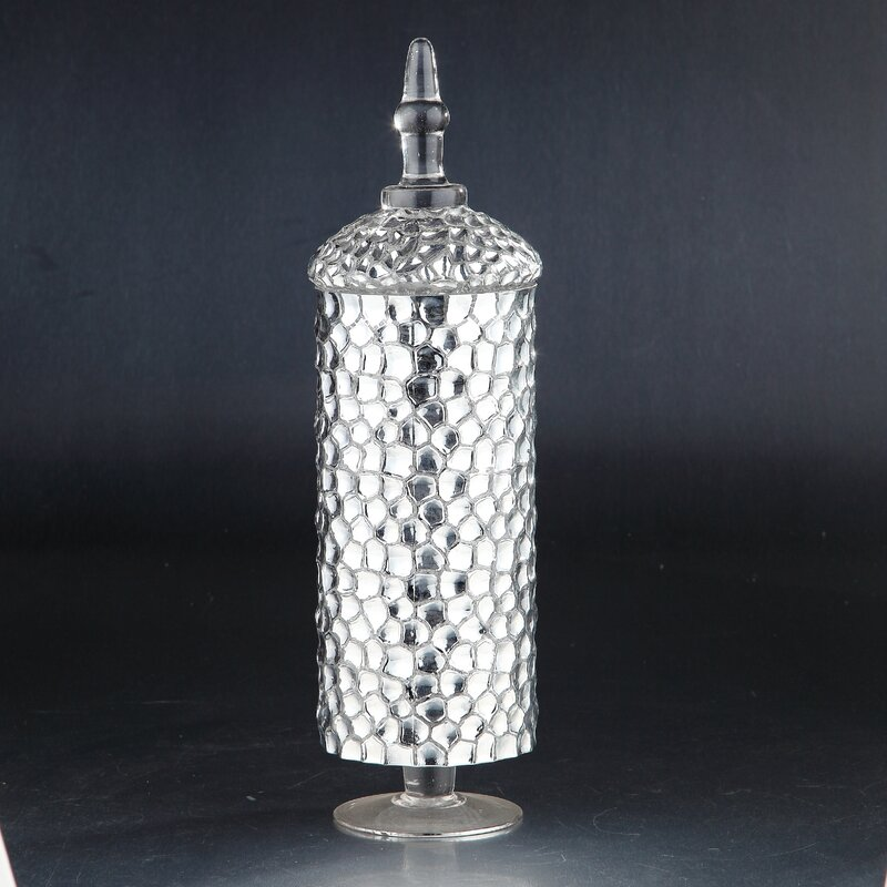 "13"" H X 4.5"" W X 4.5"" D Silver Decorative Bottle (Part Number: 51337) by Diamond Star Glass"