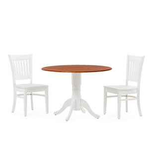 Reidy 3 Piece Drop Leaf Solid Wood Dining Set by Charlton Home New Design