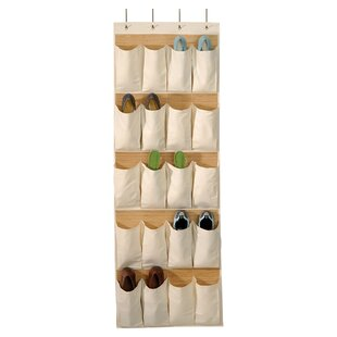 Affordable Bamboo and Natural Canvas 20 Pocket Over the Door Shoe Organizer By Richards Homewares