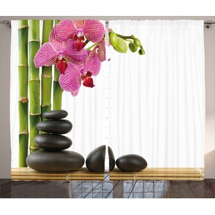 Spa Beautiful Pink Orchid with Bamboos and Black Hot Stone Massage Image Graphic Print & Text Semi-Sheer Rod Pocket Curtain Panels (Set of 2) by East Urban Home