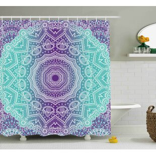 Janie Purple and Turquoise Hippie Ombre Mandala Inner Peace and Meditation With Ornamental Art Single Shower Curtain