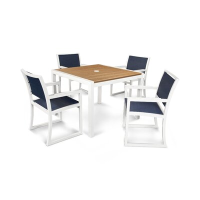 Trex Outdoor Parsons 5 Piece Dining Set Finish: Satin White / Tiki Torch / Sapphire